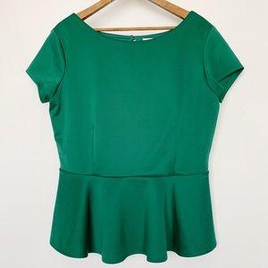 Bisou Bisou Peplum Green Short Sleeve Shirt Blouse